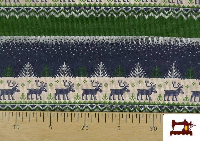 Venta online de Tela de Sudadera Imitación Jersey de Navidad color Azul