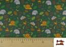 Venta online de Punto de Camiseta Infantil Estampado Selva Verde