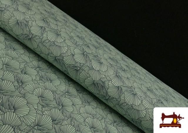 Venta de Punto de Camiseta Estampado Pétalos color Verde mar