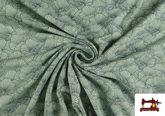 Punto de Camiseta Estampado Pétalos color Verde mar