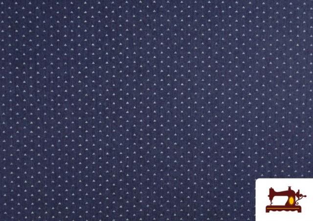 Comprar Tela Tejana Estampado Geométrico Triangulitos color Azul Marino