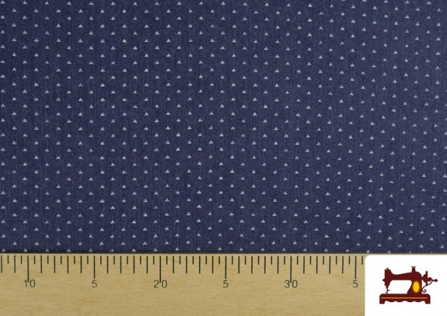 Comprar online Tela Tejana Estampado Geométrico Triangulitos color Azul Marino