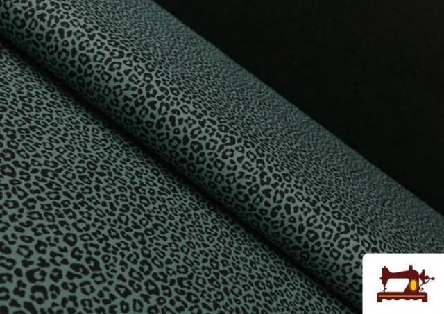 Tela de Algodón Estampado Leopardo de colores color Verde mar