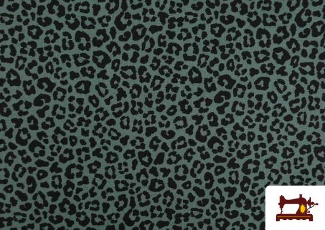 Venta de Tela de Algodón Estampado Leopardo de colores color Verde mar