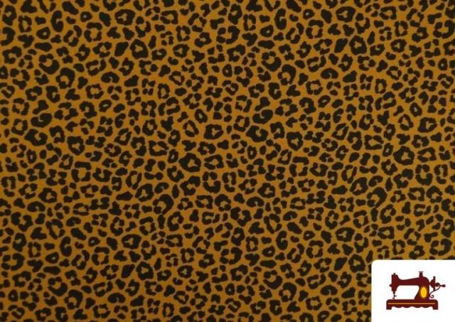 Comprar Tela de Algodón Estampado Leopardo de colores color Mostaza