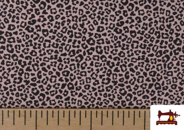 Tela de Algodón Estampado Leopardo de colores color Rosa pálido