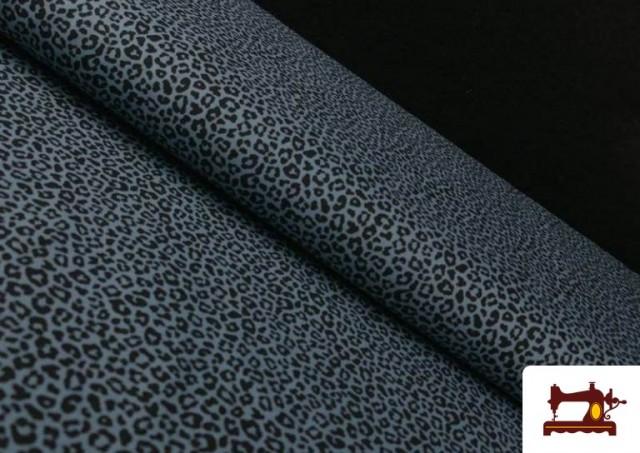 Tela de Algodón Estampado Leopardo de colores color Azul Marino