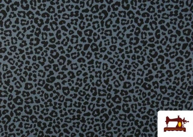 Venta de Tela de Algodón Estampado Leopardo de colores color Azul Marino
