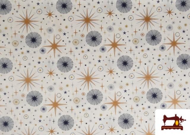 Comprar Tela de Algodón de Cielo Estrellado Navideño color Blanco