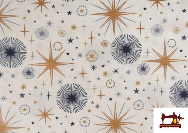 Venta de Tela de Algodón de Cielo Estrellado Navideño color Blanco