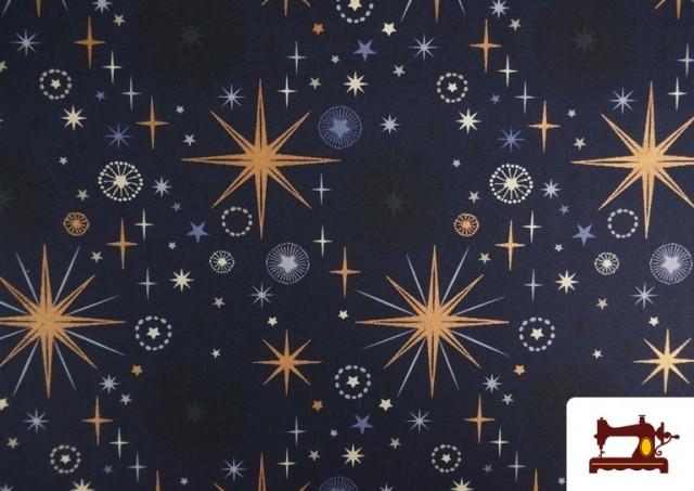 Tela de Algodón de Cielo Estrellado Navideño color Azul