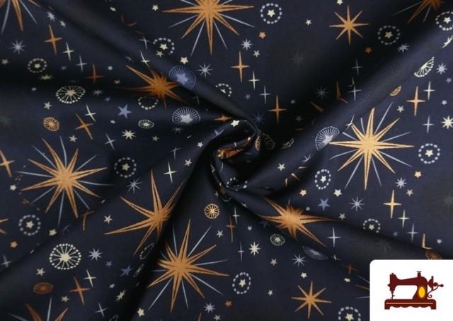 Comprar Tela de Algodón de Cielo Estrellado Navideño color Azul