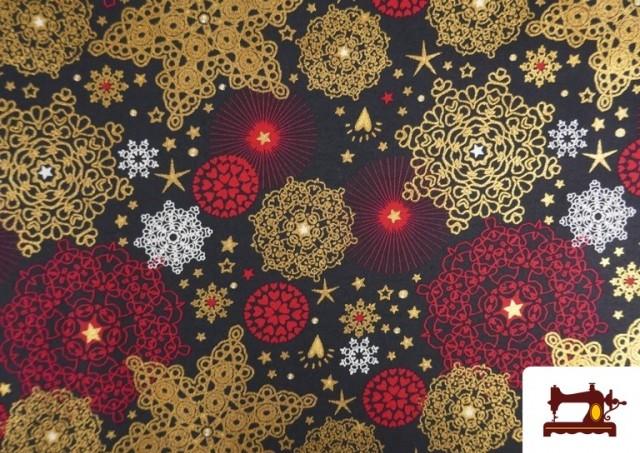 Comprar online Tela de Algodón de Copos de Nieve Mandalas Navideños