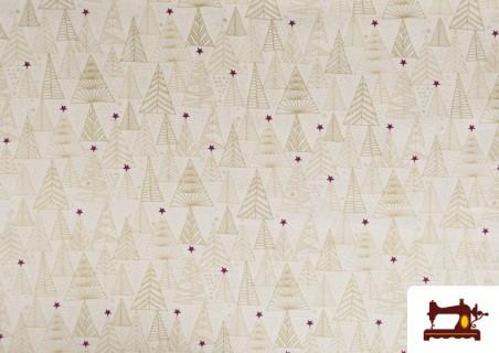 Tela de Algodón de Árboles de Navidad Dorados