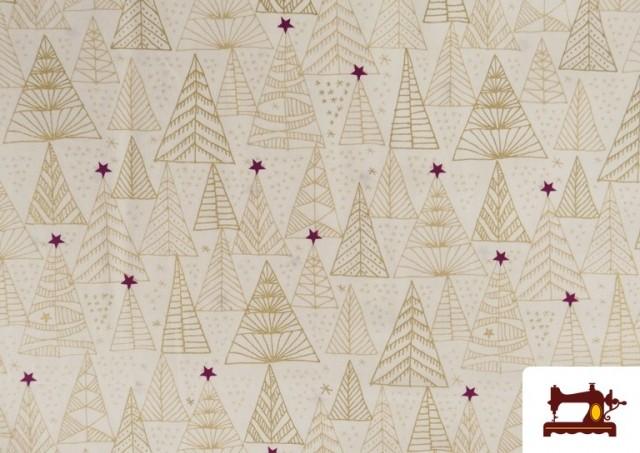 Venta de Tela de Algodón de Árboles de Navidad Dorados