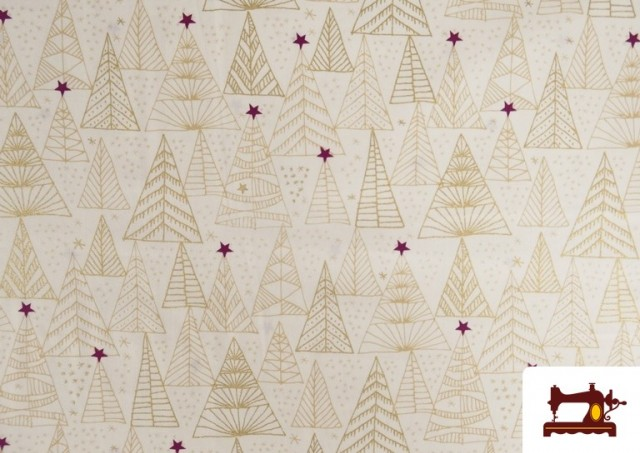 Comprar online Tela de Algodón de Árboles de Navidad Dorados