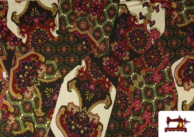 Comprar Tela de Punto de Jersey Estampado Mosaicos color Rojo