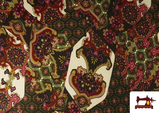 Venta de Tela de Punto de Jersey Estampado Mosaicos color Rojo
