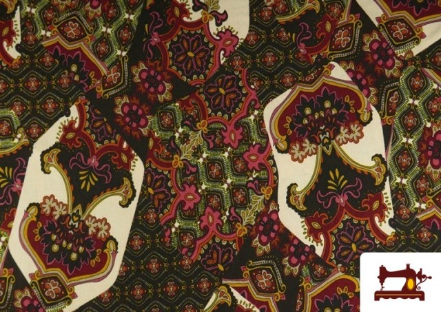 Comprar online Tela de Punto de Jersey Estampado Mosaicos color Rojo