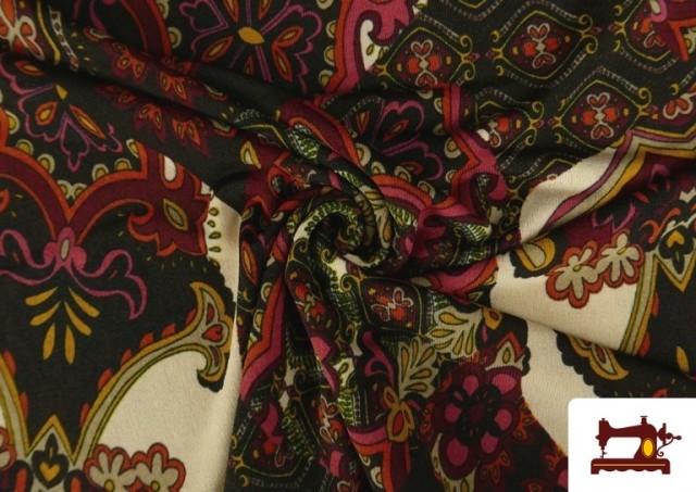 Tela de Punto de Jersey Estampado Mosaicos color Rojo
