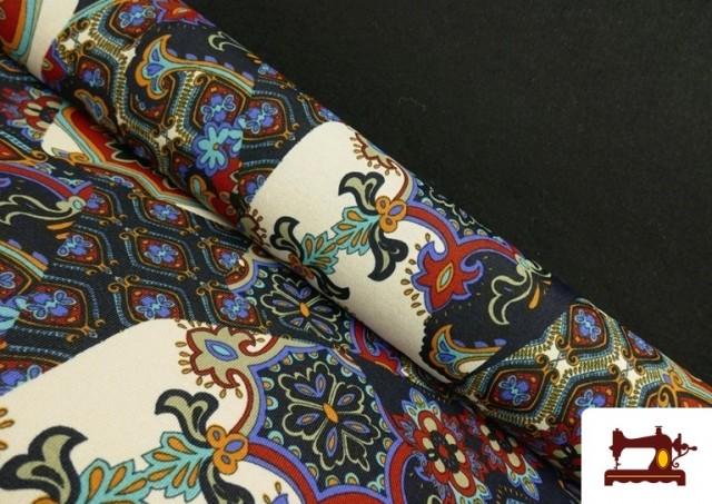 Tela de Punto de Jersey Estampado Mosaicos color Azul