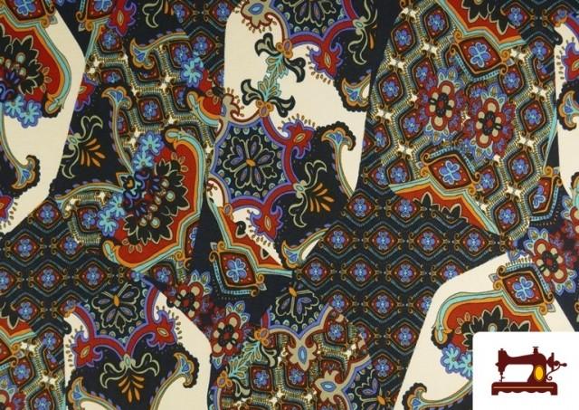 Comprar Tela de Punto de Jersey Estampado Mosaicos color Azul