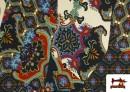 Venta de Tela de Punto de Jersey Estampado Mosaicos color Azul