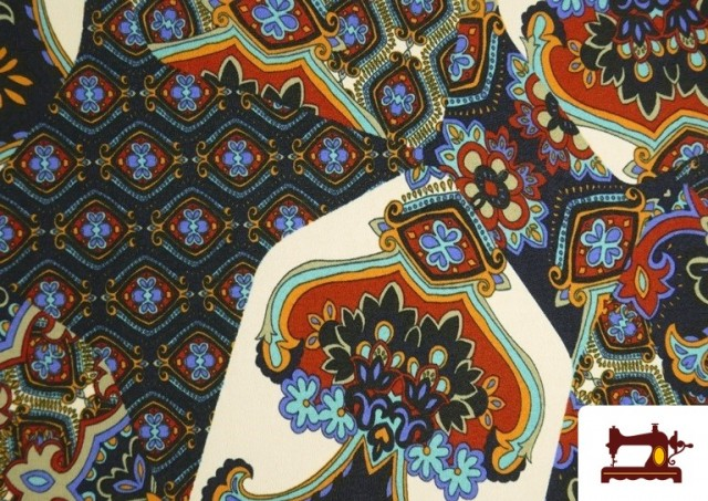 Comprar online Tela de Punto de Jersey Estampado Mosaicos color Azul