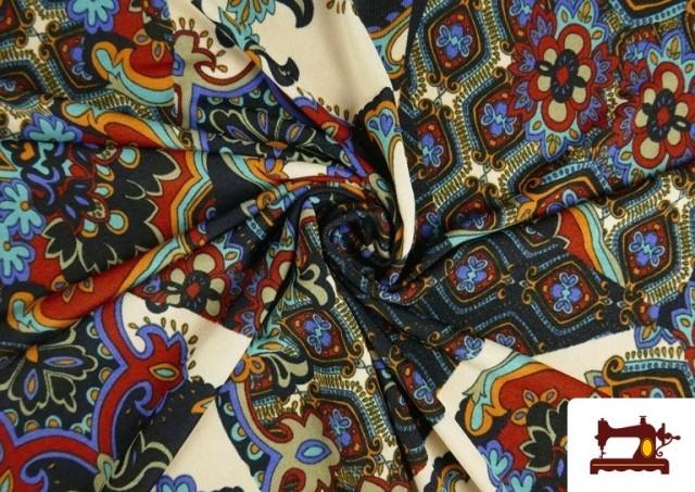 Venta online de Tela de Punto de Jersey Estampado Mosaicos color Azul