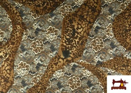 Venta de Tela de Punto de Jersey Floral y Animal print color Marrón