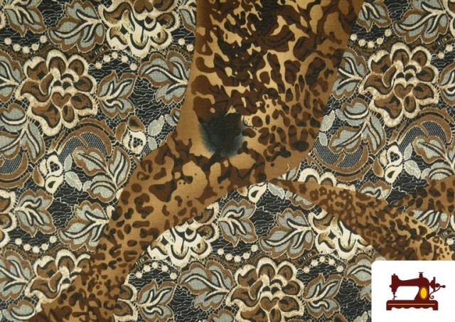 Comprar online Tela de Punto de Jersey Floral y Animal print color Marrón