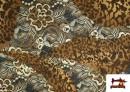 Venta online de Tela de Punto de Jersey Floral y Animal print color Marrón