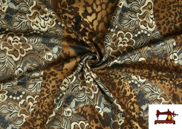 Tela de Punto de Jersey Floral y Animal print color Marrón