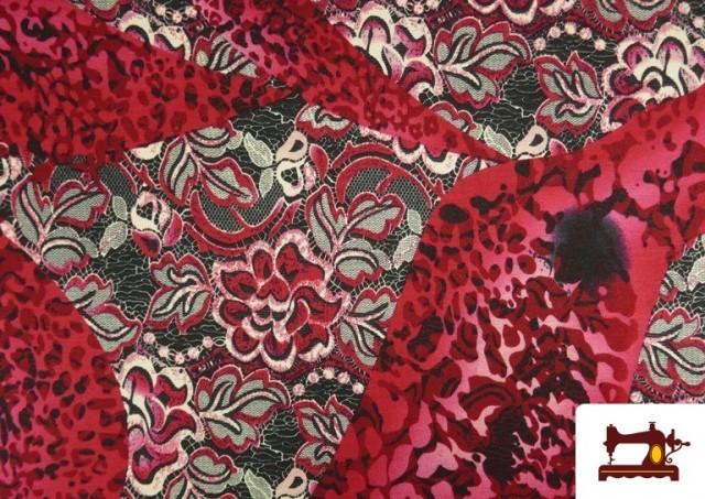 Comprar Tela de Punto de Jersey Floral y Animal print color Rubí