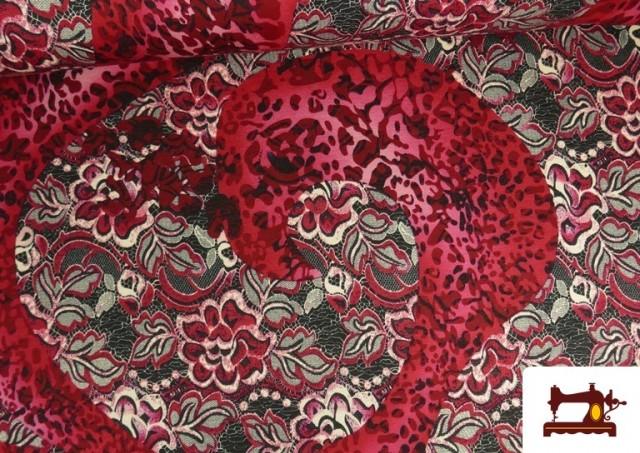 Venta de Tela de Punto de Jersey Floral y Animal print color Rubí