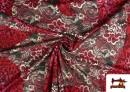 Comprar online Tela de Punto de Jersey Floral y Animal print color Rubí
