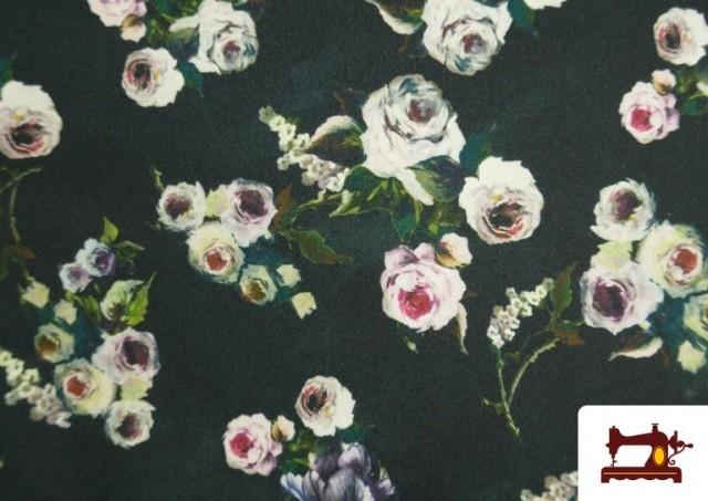 Comprar online Tela de Crespón con Lycra Rosas blancas