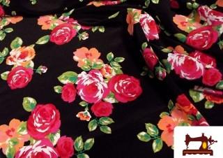 Estampado de flores grandes para Flamenca Rociera