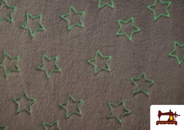 Tela de Coralina Suave Estampado Estrellas Brillantes a la Oscuridad