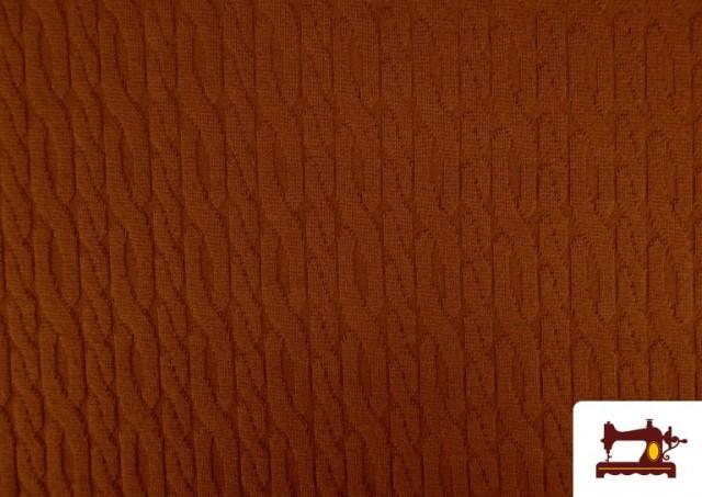 Comprar online Tela de Jersey Tricot Dibujo Tejido Cadenas color Teja