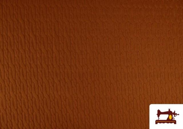Venta online de Tela de Jersey Tricot Dibujo Tejido Cadenas color Teja