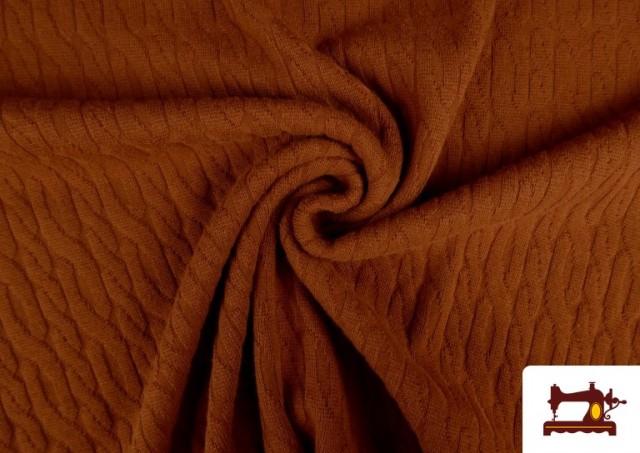 Tela de Jersey Tricot Dibujo Tejido Cadenas color Teja