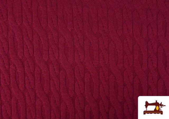 Comprar online Tela de Jersey Tricot Dibujo Tejido Cadenas color Granate