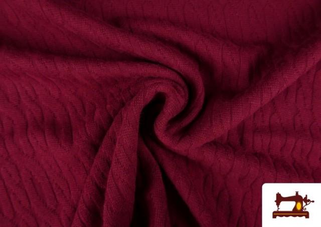 Tela de Jersey Tricot Dibujo Tejido Cadenas color Granate
