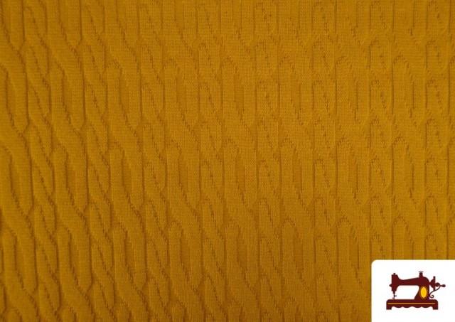 Tela de Jersey Tricot Dibujo Tejido Cadenas color Mostaza