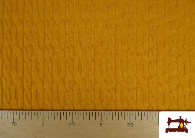Comprar Tela de Jersey Tricot Dibujo Tejido Cadenas color Mostaza