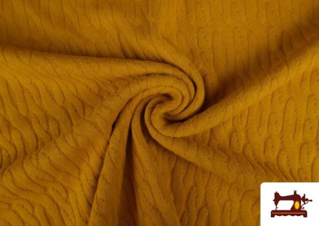 Venta de Tela de Jersey Tricot Dibujo Tejido Cadenas color Mostaza