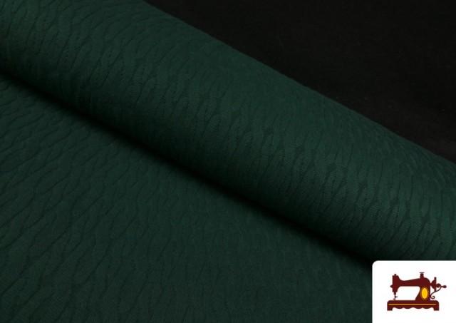 Comprar online Tela de Jersey Tricot Dibujo Tejido Cadenas color Verde botella