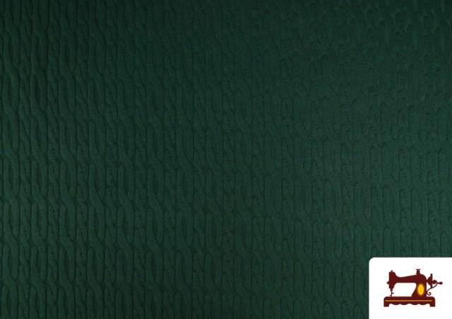 Venta online de Tela de Jersey Tricot Dibujo Tejido Cadenas color Verde botella