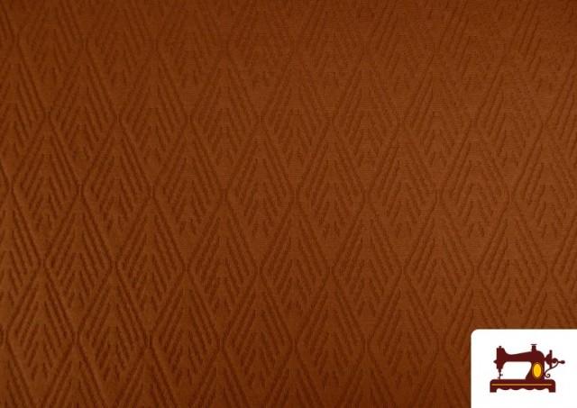 Comprar Tela de Jersey Tricot Dibujo Tejido Étnico color Teja
